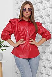 Блузка женская красная с рукавом. Эко кожа полиэстер. Повседневная, офисная блуза