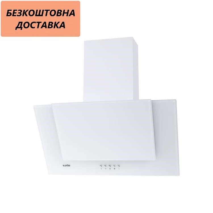 Кухонная вытяжка Ventolux DIAMOND 60 WH (700) PB Наклонная, Белая, Стекло