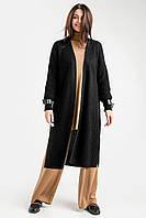 Удлиненный кардиган-пальто прямого силуэта выполнен из теплой смесовой шерстяной пряжи