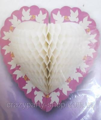 Свадебный декор Сердце с голубями 3D
