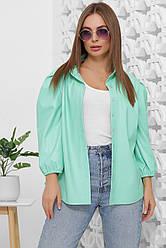 Блузка женская мятная с рукавом. Эко кожа полиэстер. Повседневная, офисная блуза