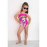 Купальник слитный детский розовый тонкие бретели-завязки LOL - 602-19