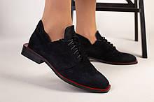 Туфли женские замшевые черные на шнурках на низком ходу