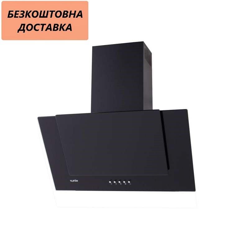 Кухонная вытяжка Ventolux DIAMOND 60 BK (700) PB Наклонная, Черная, Стекло