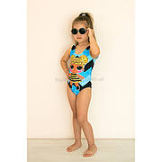 Купальник детский слитный черно-голубой LOL -  602-11