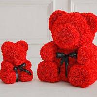 Мишко з 3D троянд 40см в красивій подарунковій упаковці ведмедик Тедді з троянд оригінальний подарунок,, фото 1