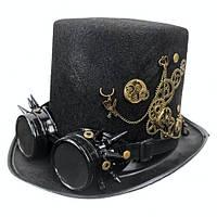 Шляпа цилиндр Стимпанк черная карнавальная