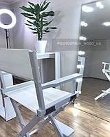 Стул для визажиста, складной, деревянный, стул режиссера, стул для фото сессии, белый 1