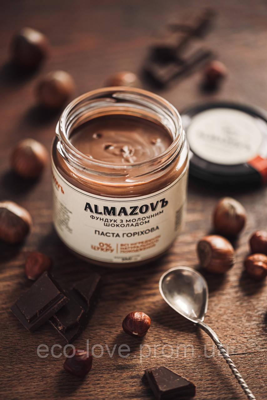 Ореховая паста с фундуком и молочным шоколадом 0% сахара, TM ALMAZOVЪ, 200 гр