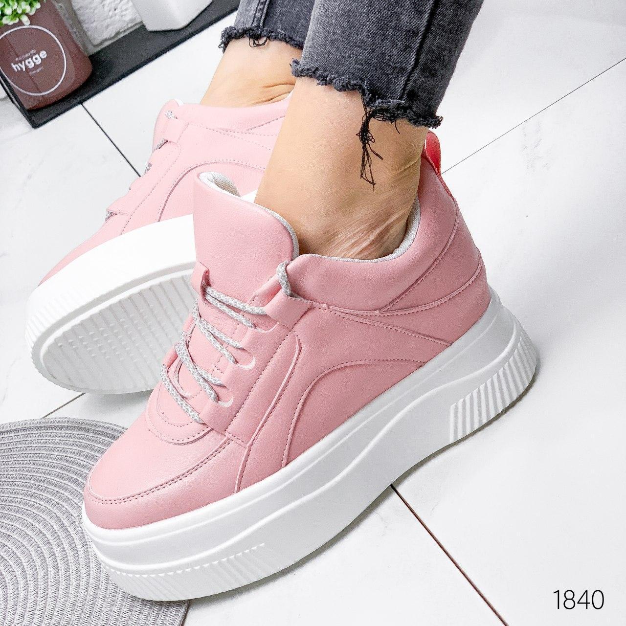 Кроссовки женские розовые на платформе из эко кожи. Кросівки жіночі рожеві на платформі