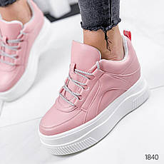 Кроссовки женские розовые на платформе из эко кожи. Кросівки жіночі рожеві на платформі, фото 2