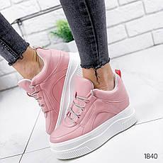 Кроссовки женские розовые на платформе из эко кожи. Кросівки жіночі рожеві на платформі, фото 3