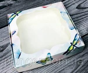 Коробка для печива, пряників, з вікном, 15 см х 15 см х 3 см, мілований картон Акварель