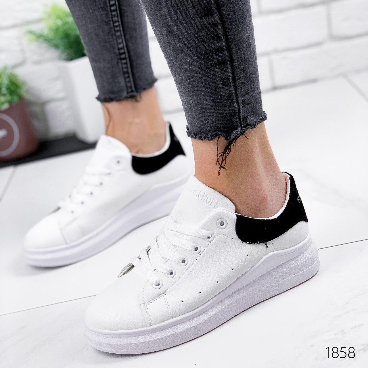 Кроссовки женские белые из эко кожи. Кросівки жіночі білі