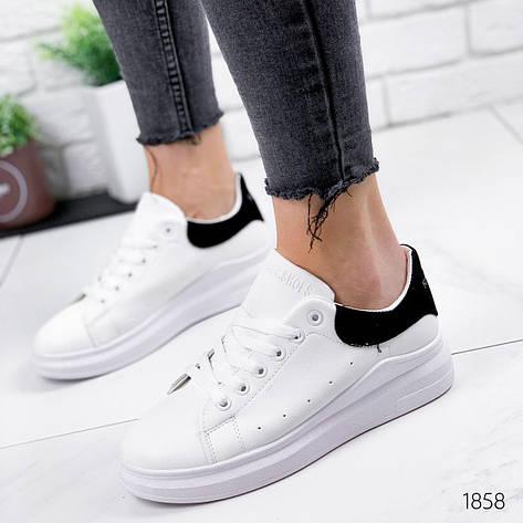 Кроссовки женские белые из эко кожи. Кросівки жіночі білі, фото 2