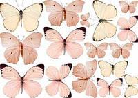 """Вафельная картинка """"Бабочки 11. Розовые бабочки. Бежевые бабочки. Пастельные бабочки"""""""