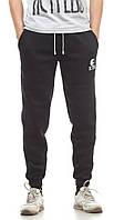 Мужские спортивные штаны зимние Ястребь черные (зауженные, трикотажные брюки)