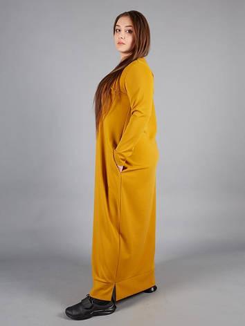 Длинное платье больших размеров трикотажное однотонное, фото 2