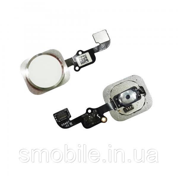 Apple Кнопка HOME внешняя для iPhone 6S / 6S Plus белого цвета, кольцо - серебристое + шлейф (оригинал)