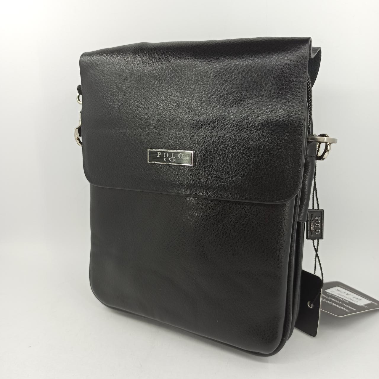Мужская кожаная сумка планшет через плечо Polo B86686-2