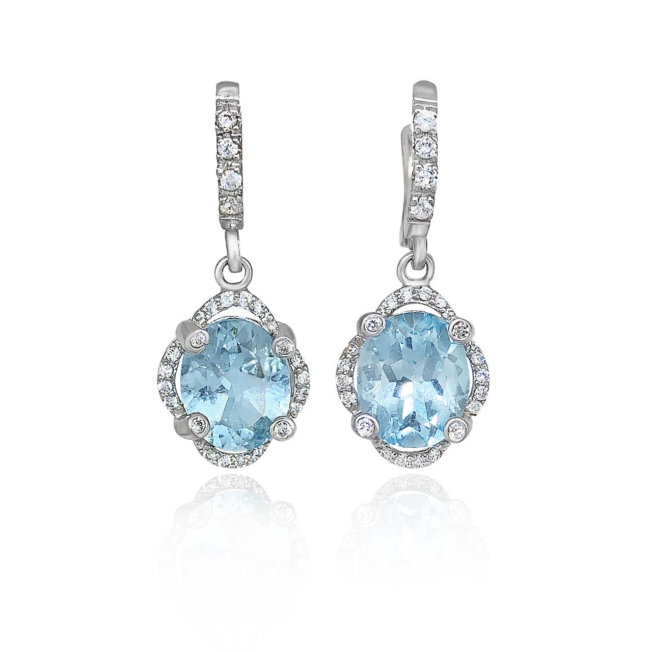 Срібні сережки з натуральними блакитними топазами