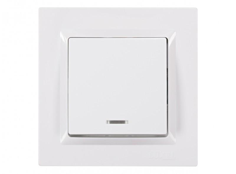 Выключатель с подсветкой Luxel JAZZ (9005) белый