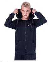 Спортивная кофта (олимпийка) Nike  (44-50)  S - XL  Темно-синий c  черным верхом