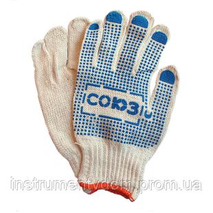 Перчатки белые х/б с ПВХ точкой СОЮЗ (упаковка 12 пар)