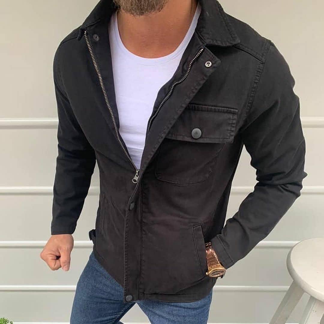 Куртка - Мужская джинсовая куртка (черная)