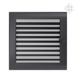 Вентиляционная решетка для камина KRATKI 22х22 см графитовая с жалюзи