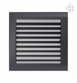 Вентиляционная решетка для камина KRATKI 22х22 см графитовая с жалюзи, фото 2