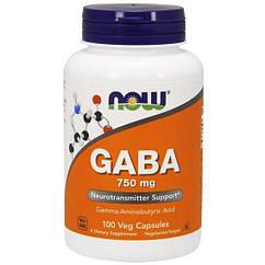 NOW Foods GABA 750 mg 100 Veg Capsules