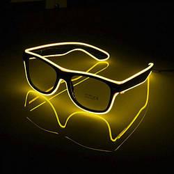 Очки светодиодные прозрачные El Neon ray yellow неоновые