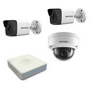 Комплект видеонаблюдения за наружным периметром на 3-и IP камеры с регистратором POE