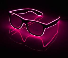 Очки светодиодные прозрачные El Neon ray pink неоновые