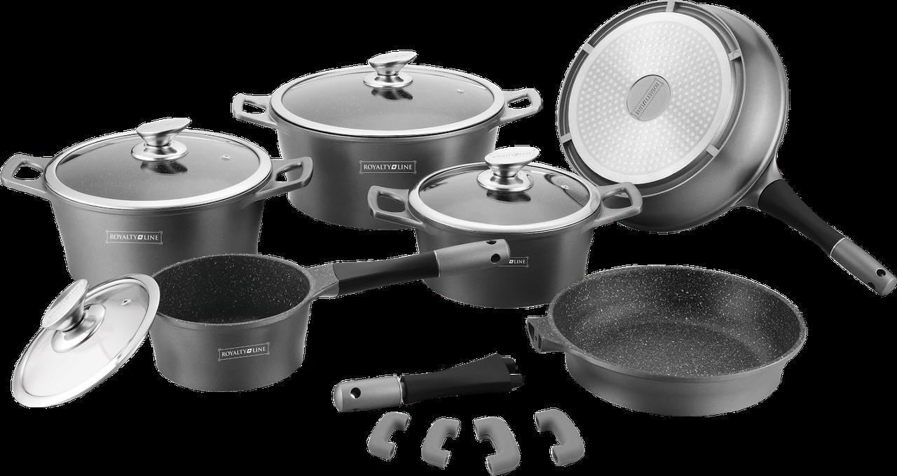 Набір кухонного посуду Royalty Line RL-ES2014M Black 14pcs мармурове покриття
