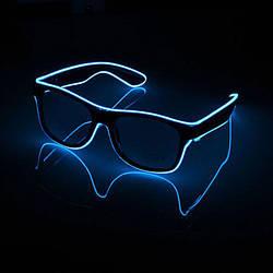 Очки светодиодные прозрачные El Neon ray blue неоновые