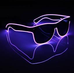 Окуляри світлодіодні сонцезахисні El Neon ray purple неонові