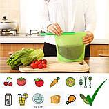 Набор многоразовых силиконовых пищевых судков 2Life  1,5 л, 1,5 л, 1 л, 0,5 л Зеленый (n-716), фото 3