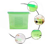 Набор многоразовых силиконовых пищевых судков 2Life  1,5 л, 1,5 л, 1 л, 0,5 л Зеленый (n-716), фото 5