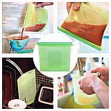 Набор многоразовых силиконовых пищевых судков 2Life  1,5 л, 1,5 л, 1 л, 0,5 л Зеленый (n-716), фото 2