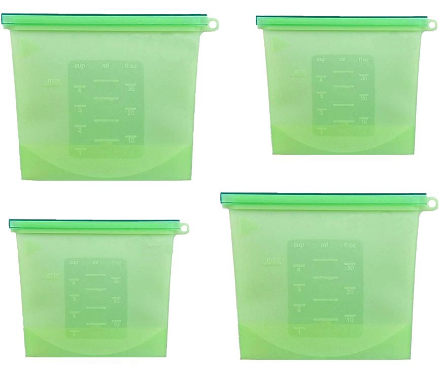 Набор многоразовых силиконовых пищевых судков 2Life  1,5 л, 1,5 л, 1 л, 0,5 л Зеленый (n-716)