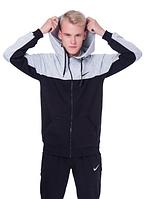 Спортивная кофта (олимпийка) Nike  (44-50)  S - XL  Черный со светло-серым верхом