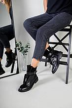 Женские демисезонные черные ботинки, кожа и замша