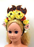 """Обруч на голову """"Летучие мыши ,Черепа, Цветы Розы"""" на Хэллоуин, День мертвых"""