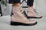 Женские демисезонные бежевые кожаные ботинки на шнуровке, фото 8