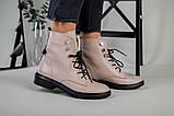 Женские демисезонные бежевые кожаные ботинки на шнуровке, фото 2