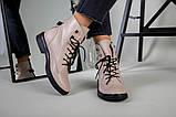 Жіночі демісезонні бежеві шкіряні черевики на шнурівці, фото 5