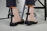 Жіночі демісезонні бежеві шкіряні черевики на шнурівці, фото 6