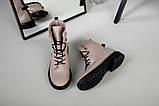Женские демисезонные бежевые кожаные ботинки на шнуровке, фото 7